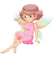 cute fairy with pink dress and colorful wings vector image