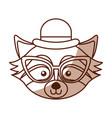 cute shadow raccoon face cartoon vector image vector image