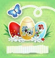 easter background with eggs and butterfly in green vector image vector image