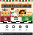 Flat style pizzeria interior Web site design vector image vector image