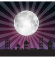 full moon with stars above city vector image vector image