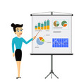 girl shows on a board financial graphs and charts vector image vector image