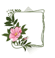 green frame with the wild pink roses vector image
