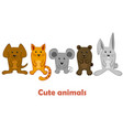 group cute cartoon domestic and wild animals vector image