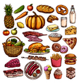 Hand Drawn Food Collection vector image