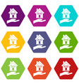 hand holding house icon set color hexahedron vector image vector image