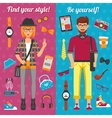 Hipster Boy And Girl Vertical Banners vector image