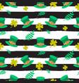 ireland saint patrick hat on striped seamless vector image vector image