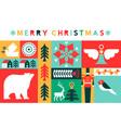 merry christmas retro folk art holiday mosaic card vector image vector image