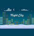 night city buildings snow on ground winter vector image vector image