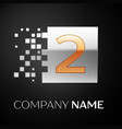 number two logo symbol in golden-silver square vector image vector image