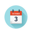 october 3 flat daily calendar icon date vector image