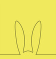 outline easter rabbit ears on yellow vector image