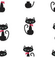 pattern with cute black cat vector image vector image