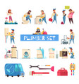 plumber cartoon set vector image