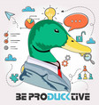 productive duck vector image vector image