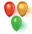 red green and gold realistic balloons on white vector image vector image