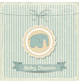 retro baby shower card with little elephant vector image vector image