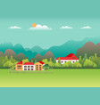 rural valley farm countryside village landscape vector image vector image