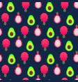 seamless pattern with dragon fruit and avocado vector image