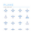 set color line icons plane vector image