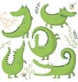 set funny hand drawn crocodiles vector image