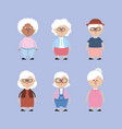 set grandparents with hairstyle and clothes vector image