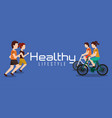 sporty couples exercise active healthy lifestyle vector image