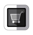 sticker monochrome square with shopping cart vector image vector image
