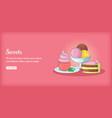 sweets banner horizontal cartoon style vector image vector image