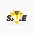 template yellow triangular banner sticker vector image vector image