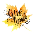 Thanksgiving background Watercolor autumn leaves vector image