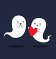 two cute little love ghosts are with smile vector image vector image