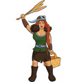 viking girl herbalist vector image