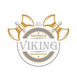 viking isolated label with warrior ax vector image