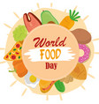 world food day healthy lifestyle meal frame vector image vector image