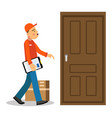 young delivery man delivery parcel to the door vector image vector image