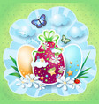 easter background with eggs and butterflies vector image