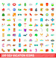 100 sea vacation icons set cartoon style vector image