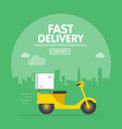 delivery ride scooter motorcycle city building vector image