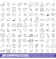 100 shipping icons set outline style vector image vector image