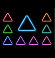 abstract neon triangle set light effect vector image
