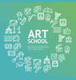 art school round design template line icon concept vector image vector image
