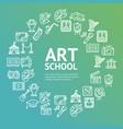 art school round design template line icon concept vector image vector image