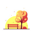 bench in autumn city park flat style vector image vector image