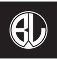bl logo monogram circle with piece ribbon style vector image vector image