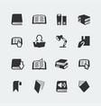 books and reading mini icons set vector image