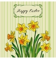 Card with easter daffodil in center and frame vector image vector image