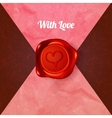 card with letters and wax seal with heart vector image