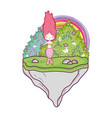 cute mermaid with rainbow in landscape vector image